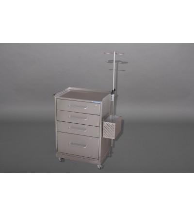 Столик анестезиолога СА-2П (нерж., 4 ящика, корзина, штатив)