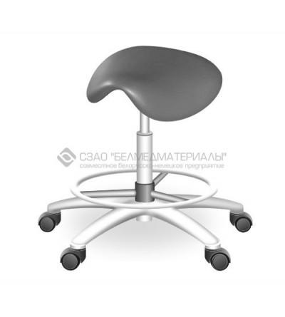 Табурет вращающийся с седлообразным сиденьем  ТС-1П (хром, с кольцевой опорой для ног)